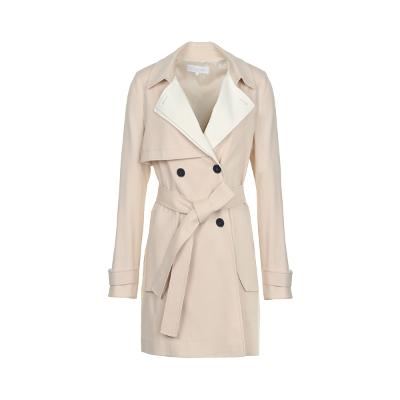 two tone double button trench coat